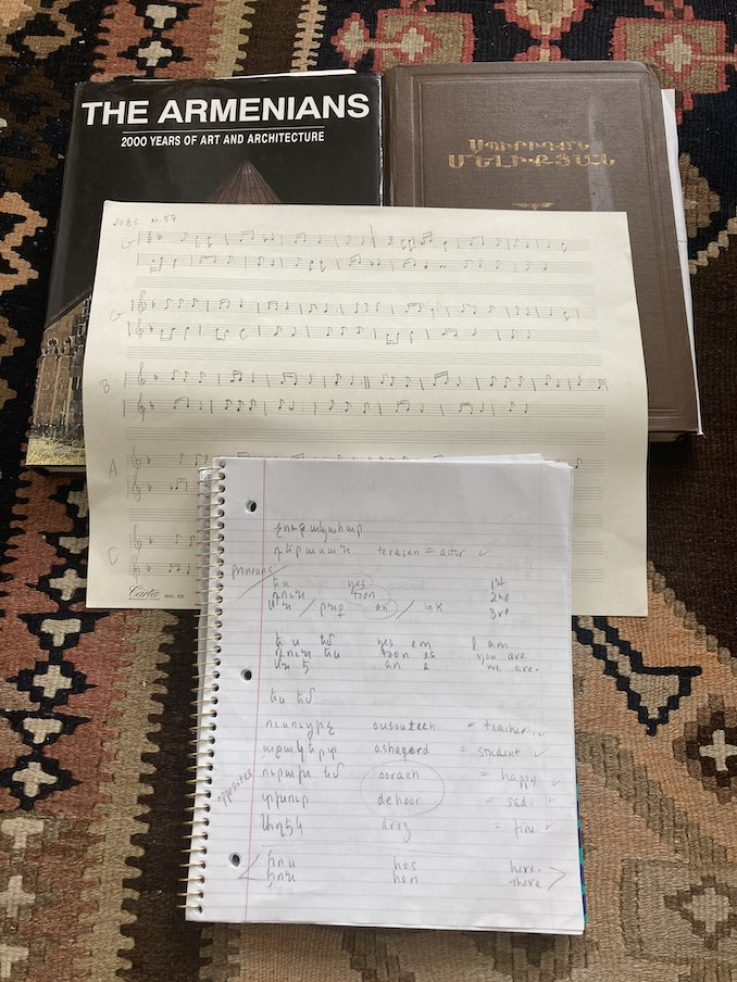 Discovering my heritage: a book on Armenia, folkloric transcriptions, my studies around Armenian folk songs and Armenian language class scribbles.