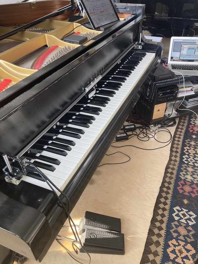 Tech set up in my studio for augmented and acoustic piano creative work.