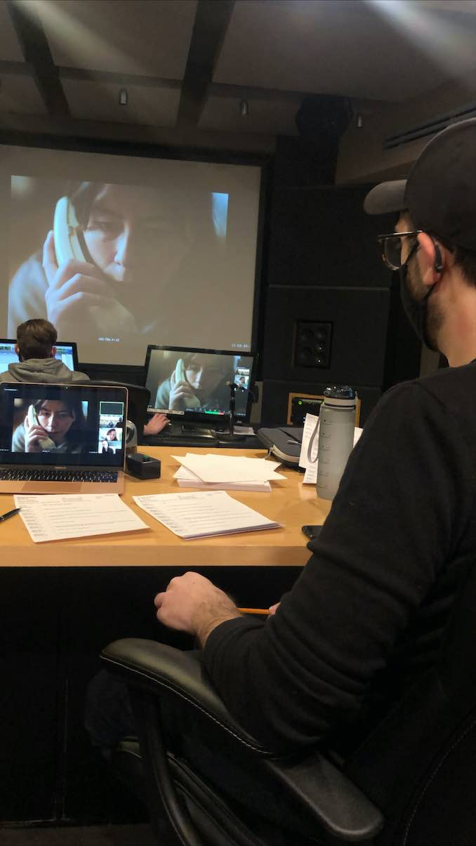 In the editing suite at Eggplant Picture and Sound. My co-creator, Mike Musi, and I are busy editing sound for our digital series, Something Undone.