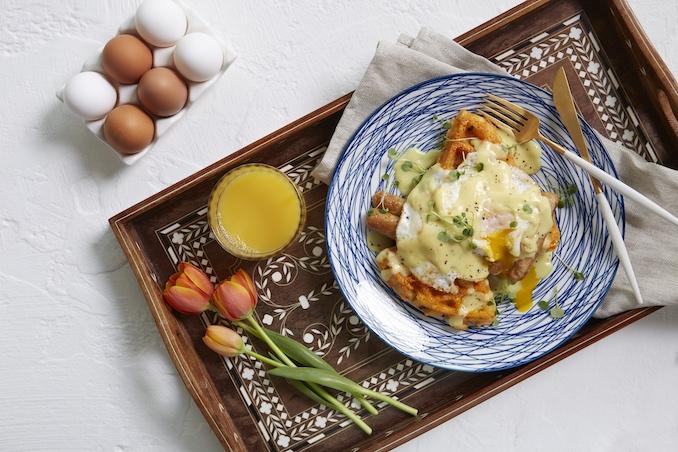 Spring Sausage Eggs Benedict Recipe by Chef Paul Lillakas