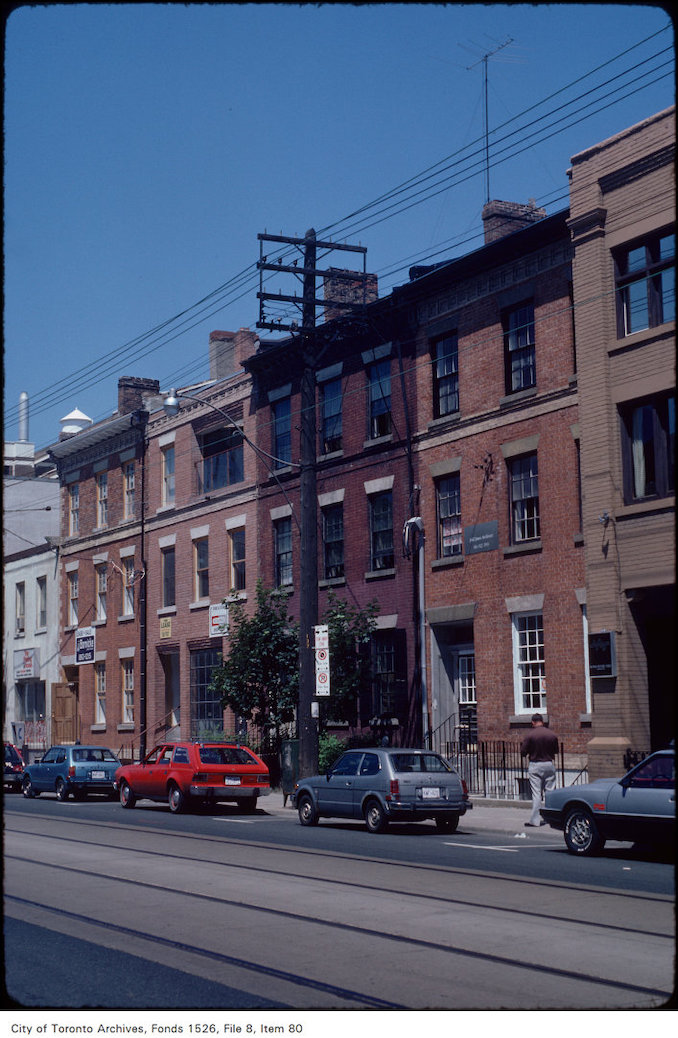 1982 - View of Georgian row of houses on the east side of Church Street, north of Shuter Street