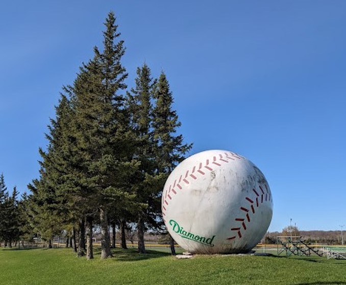 Now this one is debatable, because they say there's another world's largest baseball roadside attraction in Muscotah, Kansas. Here's the one Canada lays claim to!